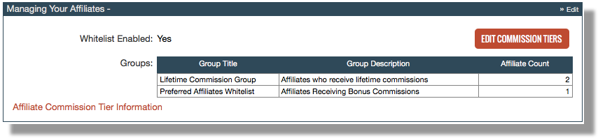 This image shows the Managing Your Affiliates section of the user interface. It contains a field indicating that an affiliate whitelist is enabled, a table showing the existing groups within the Commission Tier area, and an Edit Commission Tiers button at the right.