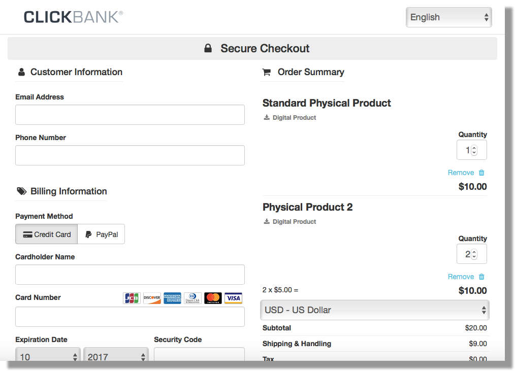 This image shows the ClickBank order form for a cart order. The left side has fields for the customer and billing information. The right side shows the two example products that are included in the order, their quantities, and the subtotal.