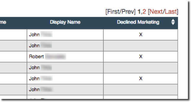 This image shows a portion of the Transactions Reporting table, including the Declined Marketing column. An x in this column indicates that the customer has declined marketing communications.