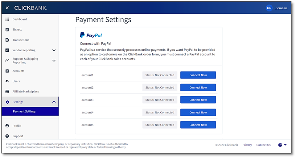 The Payment Settings displays each of your vendor account nicknames and its PayPal Connection Status. To the right of the PayPal Connection Status is a Connect Now button that is enabled if the PayPal Connection Status is Not Connected and disabled for all other statuses.