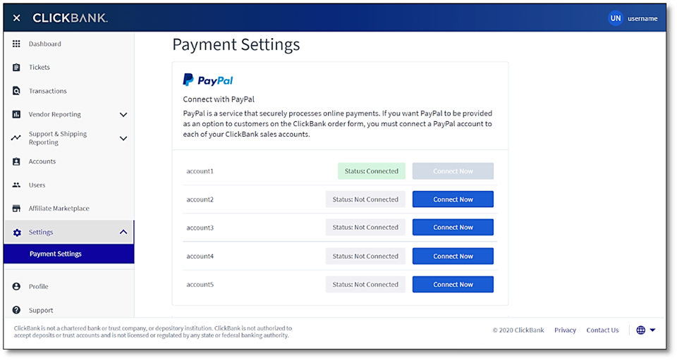 The Payment Settings screen with the first PayPal Connection Status displayed as Status: Connected and the Connect Now button disabled.