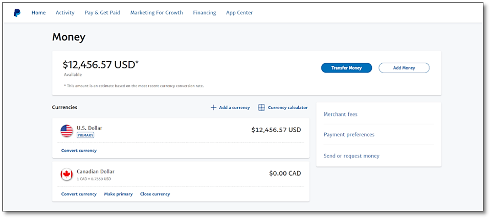 The PayPal Money screen displaying U.S. dollars as an accepted currency.