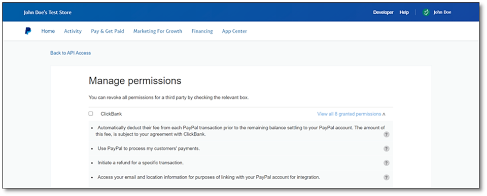 PayPal Revoke Permissions confirms you no longer want to accept PayPal payments through ClickBank's platform.