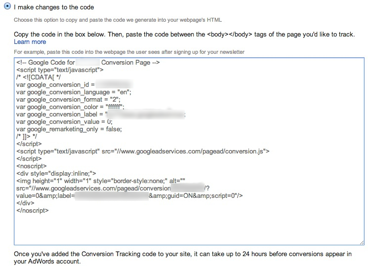This image shows a javascript section of the Google Analytics configuration. There is a selected radio button at the top labeled 'I make changes to the code'. Beneath it is a set of instructions to copy the code in the box below and paste it between the body text of the target page. Beneath the instructions is a window with a Javascript code block.